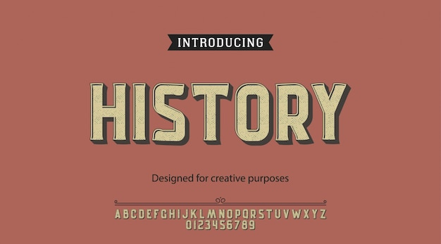 History typeface.for labels and different type designs
