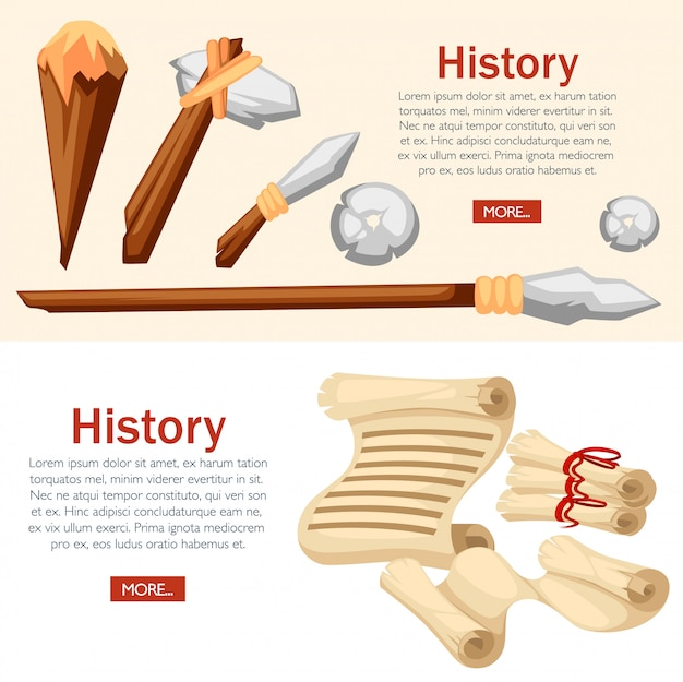 History web banner concept. stone age primitive work tools. medieval scrolls.  style  illustration on white and beige background. place for your text. website page and mobile app