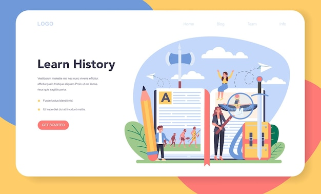 History web banner or landing page