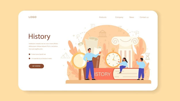 History web template or landing page.