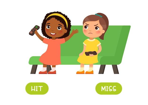 Hit and miss antonimi carta di parole opposti flashcard per l'apprendimento della lingua inglese
