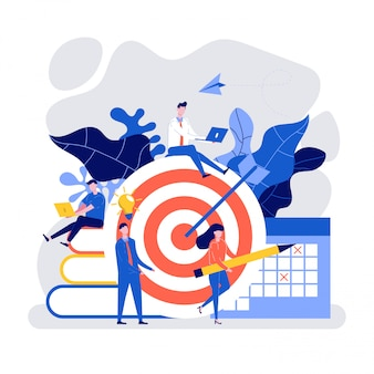 Hit the target with an arrow, people working together to achieve business target.