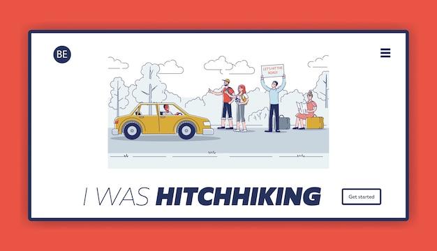 旅行者が通りすがりの車をつまんでハイキングする道路のランディングページのデザインのヒッチハイカー。