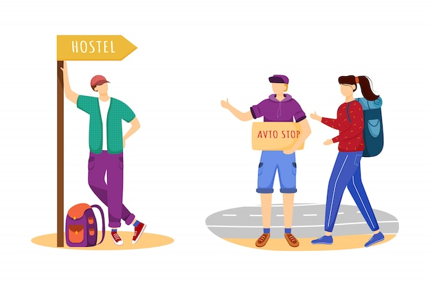 Hitchhiking flat illustration. cheap travelling ideas. staying in hostel. stopping car for ride. trip ideas for youth. budget tourism isolated cartoon character on white background