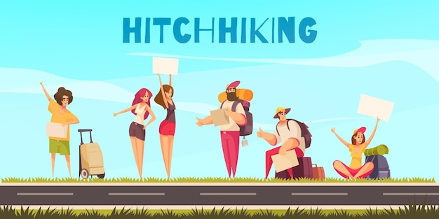 Hitchhiking men and women with luggage and thumbs up waiting by roadside