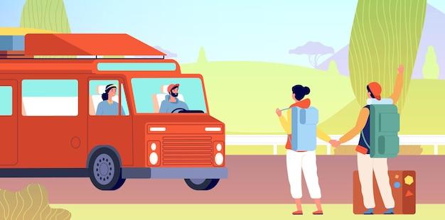 히치 하이킹. 관광객은 도로에서 차를 잡는다. 길가 대기 택시에 배낭 플랫 남자 여자