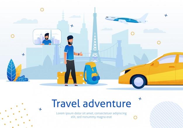 Hitchhiking travel venture flat  ad banner