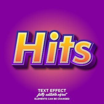 Hits 3d font effect for banner and sticker