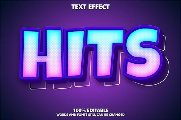 Хиты, редактируемый мультяшный текстовый эффект