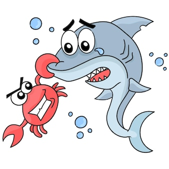 Hius being pinched by a crab. cartoon illustration sticker emoticon