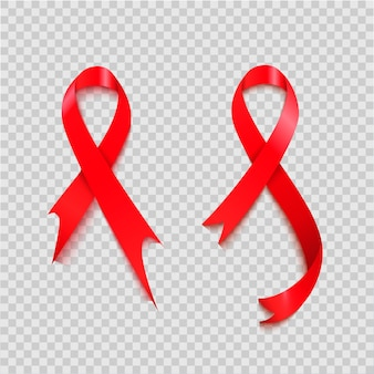 Hiv awareness redリボン。