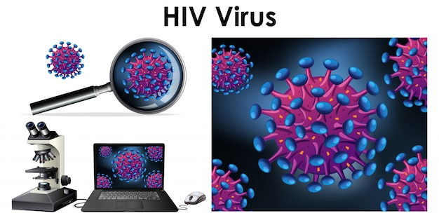 Hiv virus on computer screen and magnifying glass