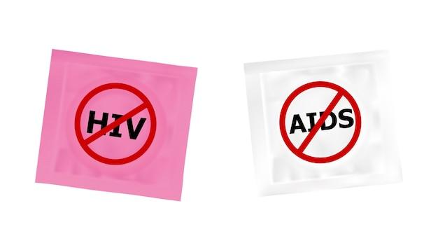Hivとエイズの禁止ロゴを持つコンドーム