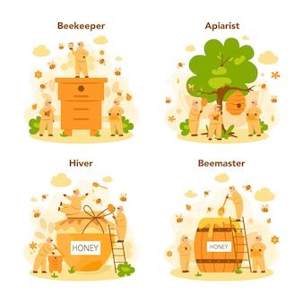 Hiver or beekeeper concept set. professional farmer with hive and honey. countryside organic product. apiary worker, beekeeping and honey production.