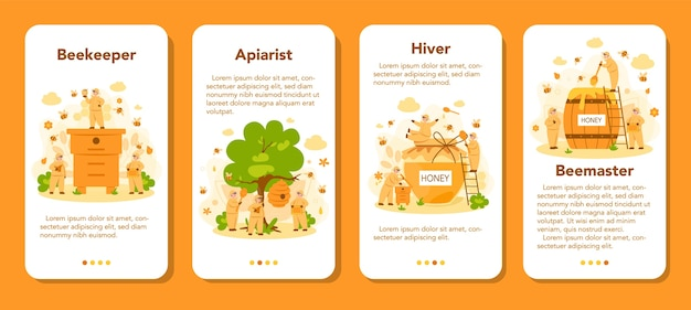 Hiver or beekeeper mobile application banner set. professional farmer with hive and honey. countryside organic product. apiary worker, beekeeping and honey production. vector illustration