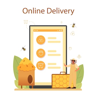 Hiver or beekeeper online service or platform. professional farmer with hive and honey. countryside organic product. online delivery.