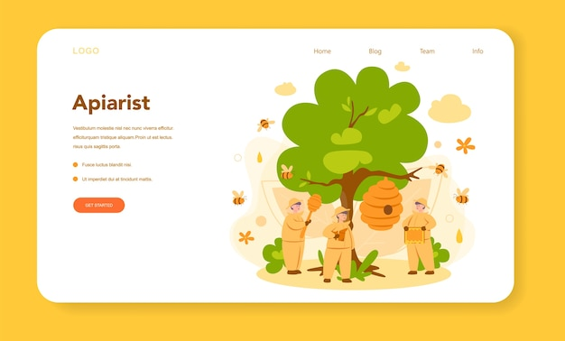 Hiver or beekeeper web banner or landing page