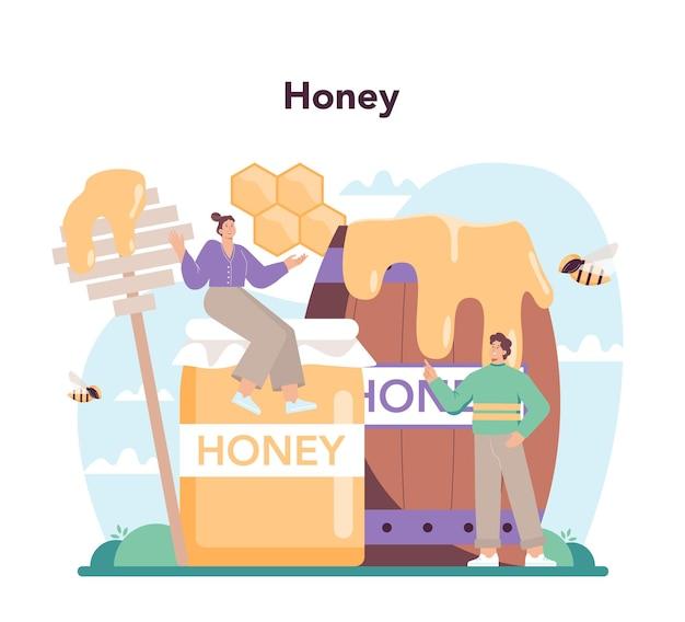 Hiver 또는 양봉가 개념 전문 농부가 꿀을 수집합니다.