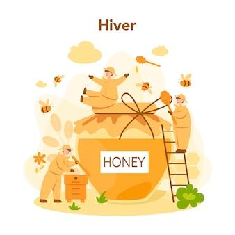 ハイバーまたは養蜂家の概念。ハイブと蜂蜜を持つプロの農家。田舎のオーガニック製品。養蜂場労働者、養蜂、蜂蜜の生産。ベクトルイラスト