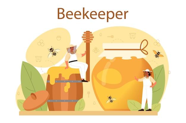 ハイバーまたは養蜂家の概念。ハイブと蜂蜜を持つプロの農家
