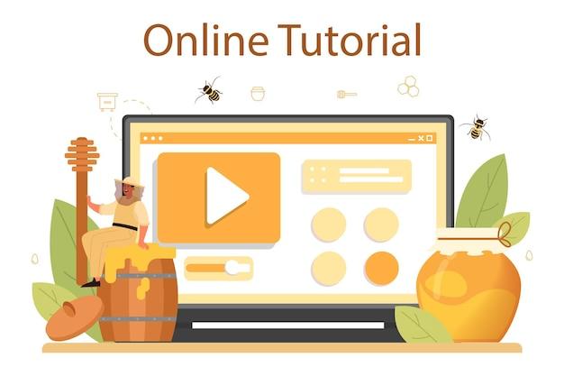 Онлайн-сервис или платформа для пчеловода или пчеловода. профессиональный фермер с ульем и медом. сельский органический продукт. онлайн-учебник. векторная иллюстрация