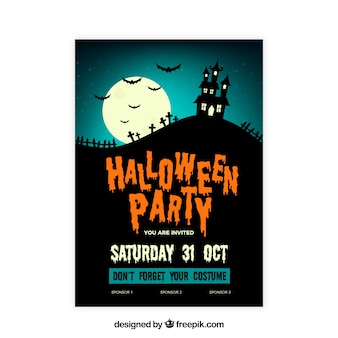 Hlloween party poster with haunted house
