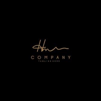 Hm letter script calligraphy signature logo