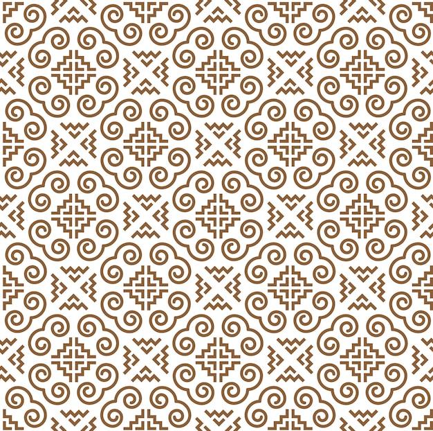 Hmong шаблон бесшовные, спиральный дизайн для украшения, текстиля и обоев фон
