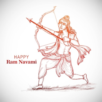 Hnad draw sketch lord rama with arrow killing ravana in navratri festival