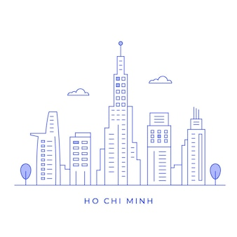 Ho chi minh city landscape with buildings and tower line art