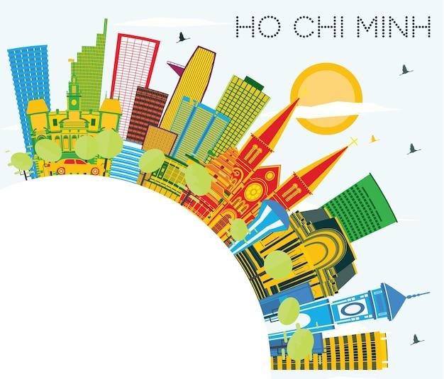 컬러 건물, 푸른 하늘 및 복사 공간이 있는 호치민 스카이라인. 벡터 일러스트 레이 션. 현대적인 건물과 비즈니스 여행 및 관광 개념입니다. 랜드마크가 있는 호치민 베트남 도시 풍경.