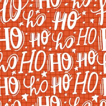 Ho ho ho lettering seamless pattern, santa claus laugh.