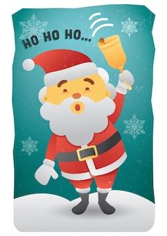 ホーホーホーサンタクロースの鐘を鳴らし、メリークリスマスイラストグリーティングカードのポスターを笑顔