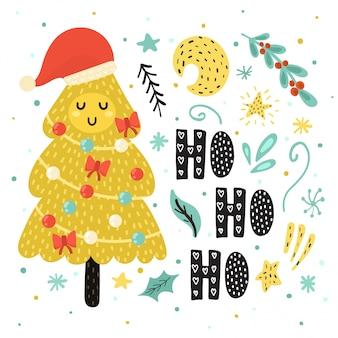 サンタの帽子でかわいいクリスマスツリーとho ho hoカード