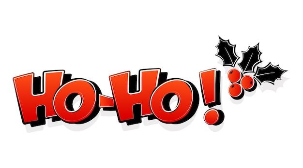 호 호 산타 클로스 말, 홀리 베리, 크리스마스 만화 인사말 카드. 삽화