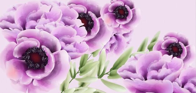 ピンクのケシの花の花束の水彩画。繊細な装飾。プロヴァンスの素朴な自由ho放に生きるポスター。結婚式、誕生日の招待状、式典イベントの挨拶
