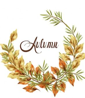 秋の葉の花輪カード。ビンテージの素朴なポスター。秋の自由ho放に生きる装飾