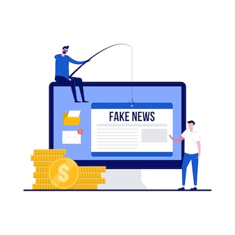 キャラクターとデマフェイクニュースのコンセプト。偽情報やデマは、オンラインのソーシャルメディアや偽のニュースサイトを介して広まります。ランディングページ、モバイルアプリ、ポスター、チラシ、ヒーロー画像のモダンなフラットスタイル。