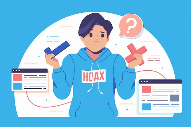 Hoax fake news illustration background