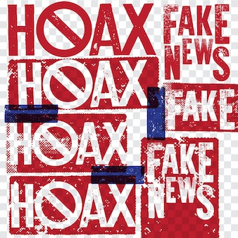 Hoax and fake news rubber grunge stamp collections