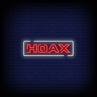 Hoax neon signs style text
