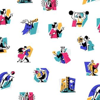 Hobbies of creative people pattern design