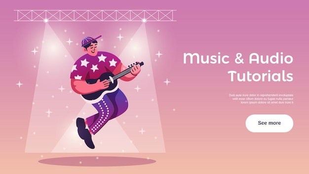 Hobbies free time activities online tutorials horizontal web banner with guitar player under stage lights