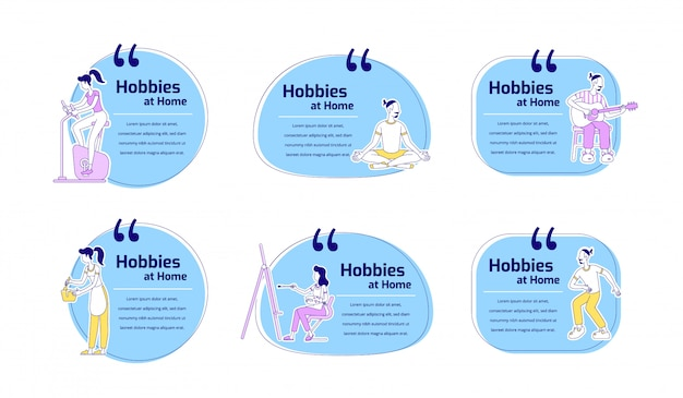 Hobbies at home flat color characters quotes set