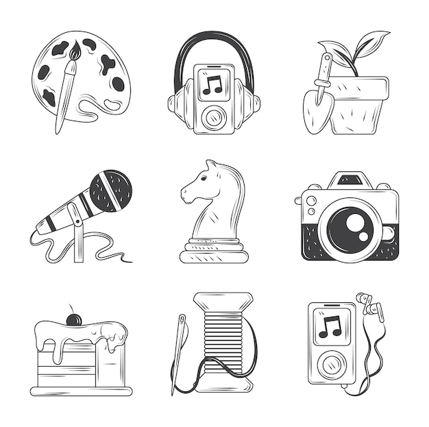 Hobbies icons set, paint music photo dessert sketch style  illustration