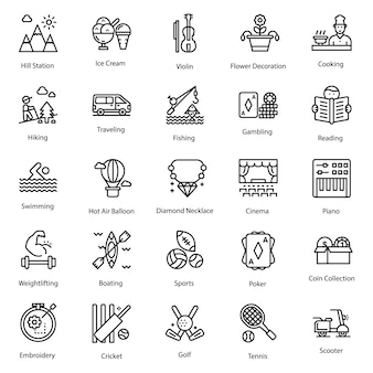 Hobbies icons set