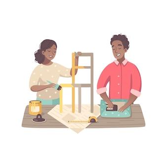 Composizione del fumetto di hobby con personaggi di persone di colore che fanno mobili