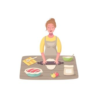 주방으로 음식을 요리하는 여성 캐릭터와 취미 만화 구성