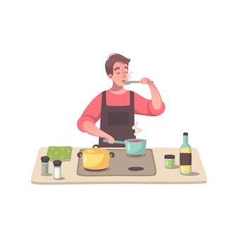 주방으로 음식을 요리하는 남성 캐릭터와 취미 만화 구성