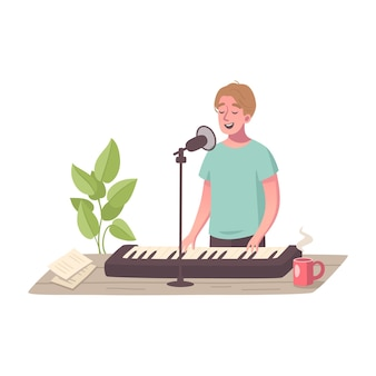 Composizione del fumetto di hobby con carattere maschile che gioca i tasti che cantano nel microfono